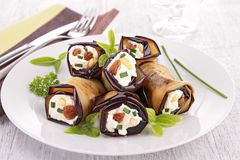 Aubergine rolled up with cheese Royalty Free Stock Image