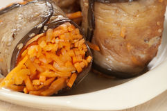 Aubergine rolls with carrot Royalty Free Stock Image