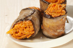 Aubergine rolls with carrot Stock Image