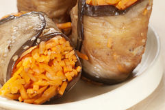 Aubergine rolls with carrot Royalty Free Stock Photography