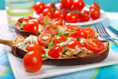 Aubergine stuffed with cherry tomato and mozzarella Royalty Free Stock Photography