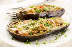 Aubergine Stuffed with Vegetables and Cheese Stock Photography