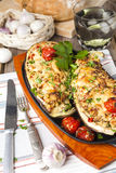 Aubergine stuffed with vegetables and cheese Stock Images