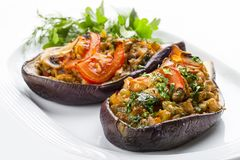 Aubergine are stuffed by vegetables and mushrooms stock image