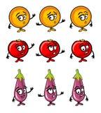 Aubergine, Tomate, orange Karikaturlächeln, überrascht und traurig stock abbildung