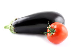 Aubergine and tomato Stock Image
