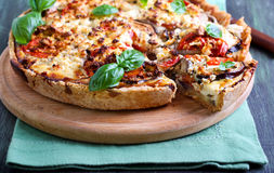 Aubergine, tomato and cheese quiche Stock Images