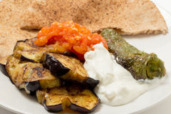 Aubergine tomato and pepper meze Stock Images