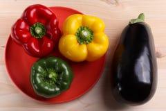 Aubergine und roter grüner Pfeffer lizenzfreie stockfotografie