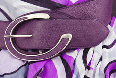 Aubergine violet leather belt Stock Photo