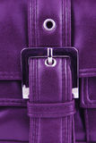 Aubergine violet leather handbag Stock Photography