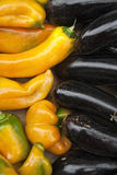 Aubergine and yellow peppers Stock Image