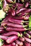 Auberginen im Markt Lizenzfreie Stockfotos