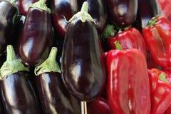 Auberginen und roter grüner Pfeffer Lizenzfreies Stockfoto