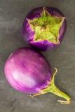 2 aubergines размера младенца, баклажаны на каменной серой предпосылке, к Стоковое фото RF