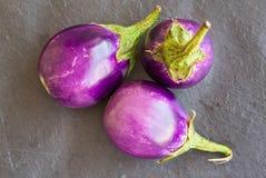 3 aubergines размера младенца, баклажаны на каменной серой предпосылке, Стоковое Фото