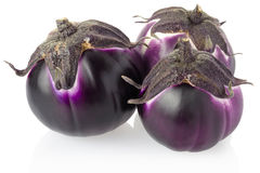 Purple aubergines group stock photo