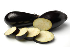 Aubergines. On isolated white background Stock Photography