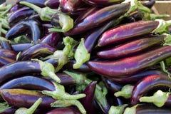 Aubergines au marché Photographie stock