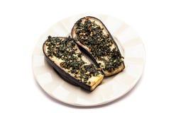 Aubergines (aubergine) met knoflook en peterselie Royalty-vrije Stock Afbeelding