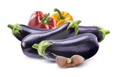 Aubergines, bell peppers and garlic composition  on whit Stock Photo
