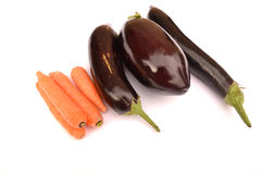 Aubergines and carrots Stock Image
