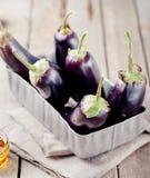 Aubergines in een uitstekende metaaldoos Royalty-vrije Stock Fotografie