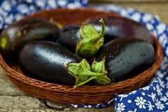 Aubergines fraîches et organiques dans un panier wattled Image libre de droits