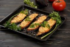Aubergines grillées et cuites au four Photographie stock