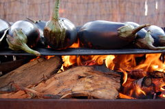 Aubergines on grill Royalty Free Stock Image