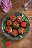 Aubergines met tomaten en saus Pan gebraden aubergines Gezond vegetarisch voedsel, voorgerecht royalty-vrije stock foto