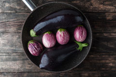 Aubergines met water in pan worden bestrooid die Royalty-vrije Stock Fotografie