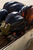 Aubergines op Barbecue stock foto
