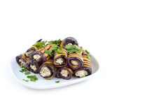 Aubergines rolled with feta Stock Image