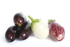 Aubergines. Three different types of aubergines (Solanum melongena Stock Image