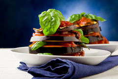Aubergines with tomato sauce - Parmigiana Stock Photo