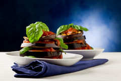 Aubergines with tomato sauce - Parmigiana Stock Images