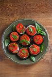 Aubergines with tomatoes and sauce. Pan fried eggplants. Healthy vegetarian food, appetizer. royalty free stock image