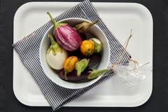 Aubergines in Witte Kom op Dienblad Royalty-vrije Stock Afbeeldingen