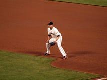 aubrey棒球垒手首先威迫蹲坐等待 免版税库存图片
