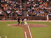 Aubrey Huff lets go of bat after fouling off pitch Stock Photos