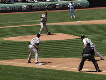 Aubrey Huff stands at 1st as pitcher throws to him Royalty Free Stock Image
