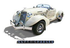 Auburn 852 Boattail Speedster- isolated. Auburn 852 Boattail Speedster Super-Charged 1936- Single view 3/4 front, with Super-Charged badge. Cream color, isolated Stock Photography