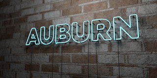 AUBURN - Glowing Neon Sign on stonework wall - 3D rendered royalty free stock illustration Stock Photography