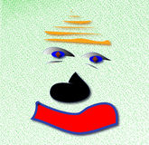 Auburn sad clown. Digital illustration on green background Royalty Free Stock Image