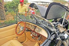 Auburn Speedster Reproduction Interior. This Auburn Speedster reproduction was built from a manufacturer supplied kit. A modern engine powers the car through an Stock Photo