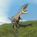 Aucasaurus die dinoasaur 3D brullen - geef terug Stock Fotografie
