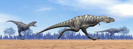 Aucasaurusdinosaurier som kör - 3D framför royaltyfri illustrationer