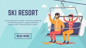 ?aucasian couple skiers using cableway at ski resort. Royalty Free Stock Image