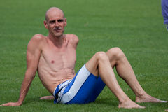 Auch duathlon,2010. Duathlon Auch, September 4, 2010, athlete recovering after exercise stock photos